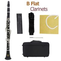 17 Key Black bB Flat Clarinet Bakelite Body Nickel Silver Plated Keys with Tube Cloth Screwdriver and Storage Box