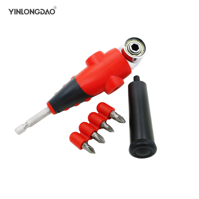 1pc 105 Degree Driver Adapter Set Adjustable Right  Bit And 4pcs Screwdriver Bits Combination Kits For Air Power Drill Tool