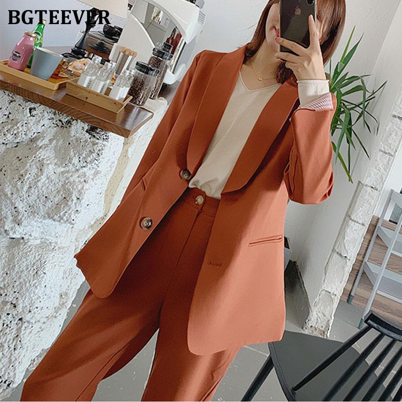 BGTEEVER Office Ladies Blazer Suit Single-breasted Pockets Female Blazer Pants Set Streetwear 2 Pieces Set Women Blazer Set 2020