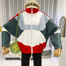 Geometric Bomber Jacket Women Stand Neck Casual Loose Zipper Female Womens Jackets and Coats  Trending Products 2019