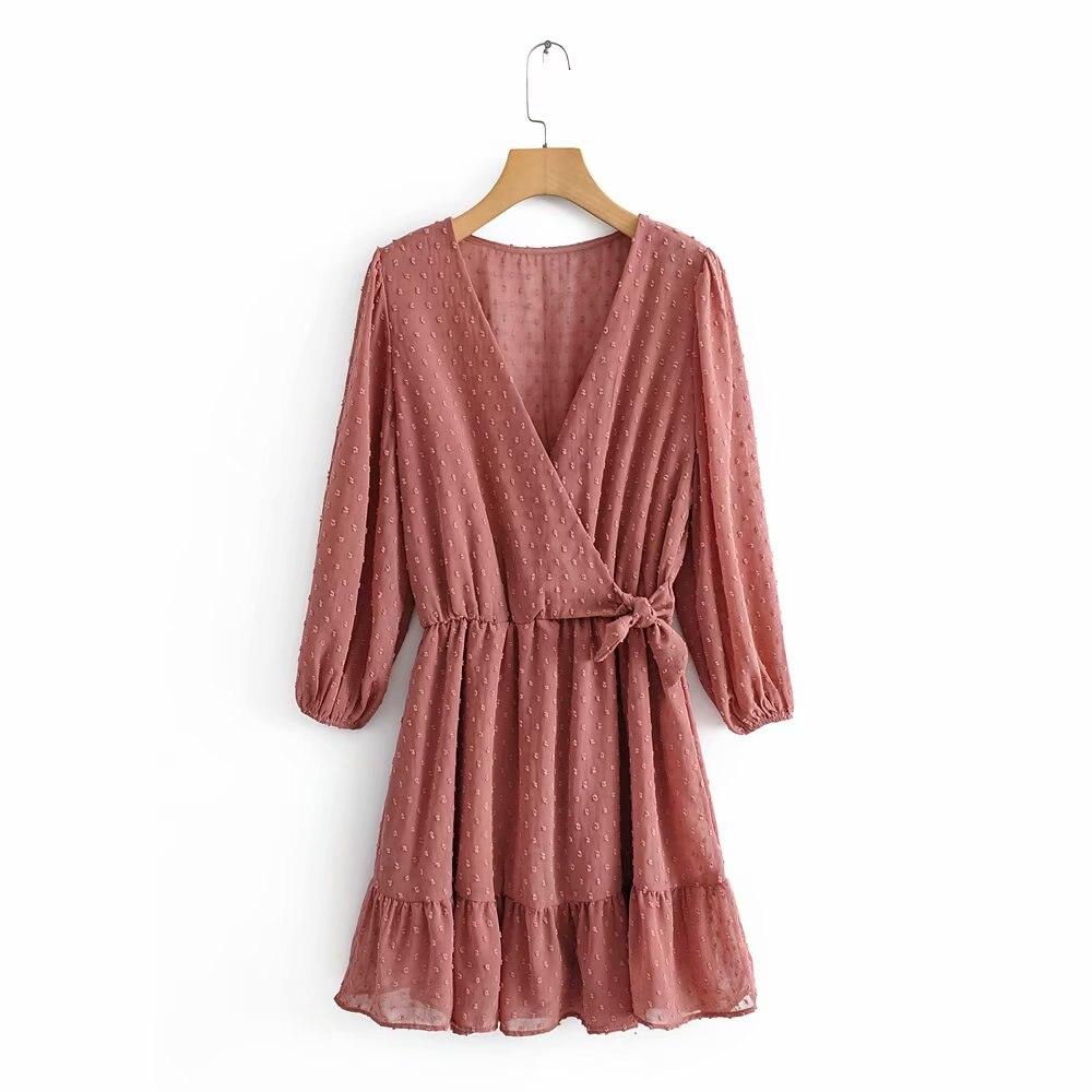Новое женское элегантное шифоновое платье с перекрестным v-образным вырезом и бантом, мини-платье с оборками, осенние женские платья кимоно ...