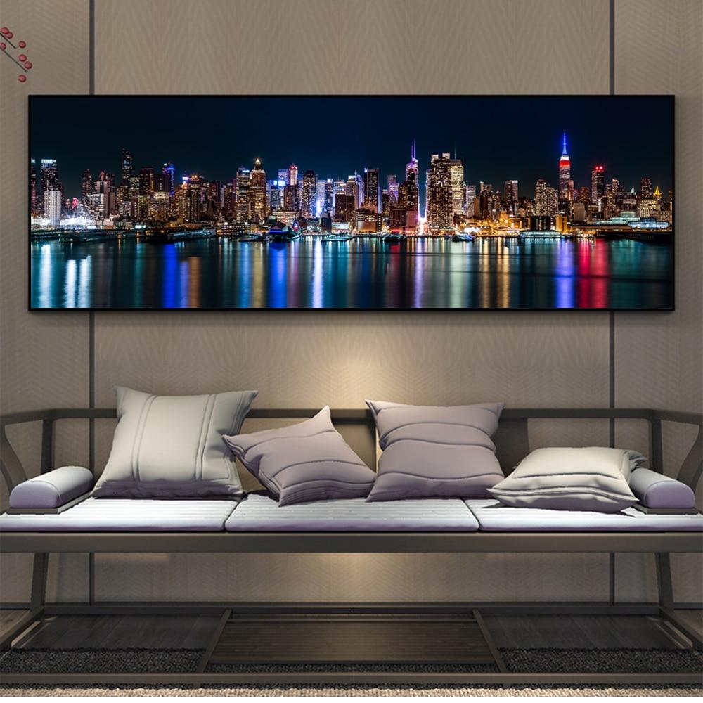 Нью-Йорк горизонт вид холст настенные картины художественные плакаты и принты Манхэттенский пейзаж холст картины Домашний Декор стены