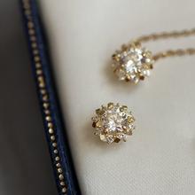 9K naprawdę twarde złoto urok wisiorek kryształowa kula słońce naszyjnik biżuteria minimalny prosty wiktoriański prezent tanie tanio GOLDtutu Cyrkon Żółte złoto CN (pochodzenie) CCGTC Śliczne Romantyczny Grzywny Brak Charms