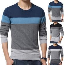 Мужской свитер в стиле пэчворк с круглым вырезом и длинным рукавом, пуловер, свитера, мужская блузка, вязаный свитер, Зимний пуловер для мужчин