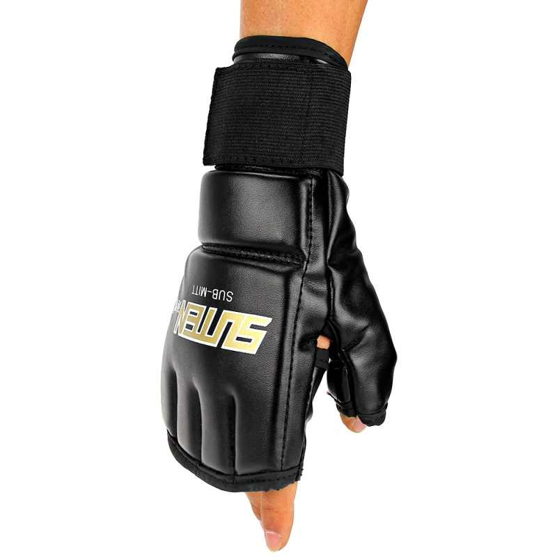 الرجال بولي Leather قفازات ملاكمة جلدية الرياضة نصف الاصبع الملاكمة التايلاندية قفازات MMA ركلة الملاكمة التدريب الملاكمة قفازات التكتيكية