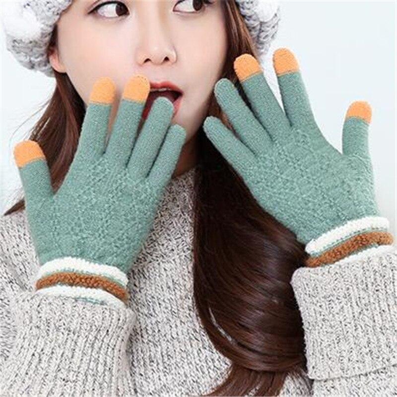 Winter Knitted Gloves Women Touch Screen Gloves Female Mittens Elk  Keep Warm Female Winter Full Finger Gloves Fashion Autumn