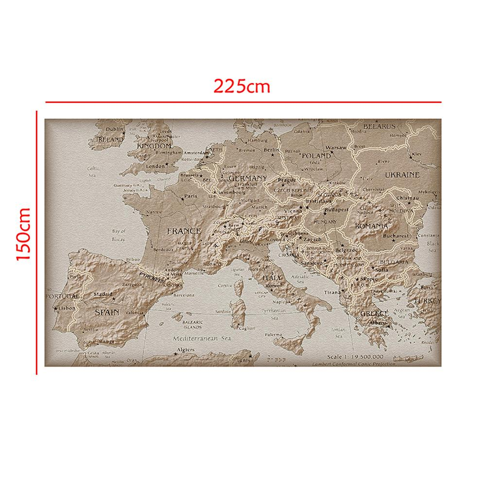 150x225cm Simple Europe Non-woven Map School Student Map For Education And Beginner
