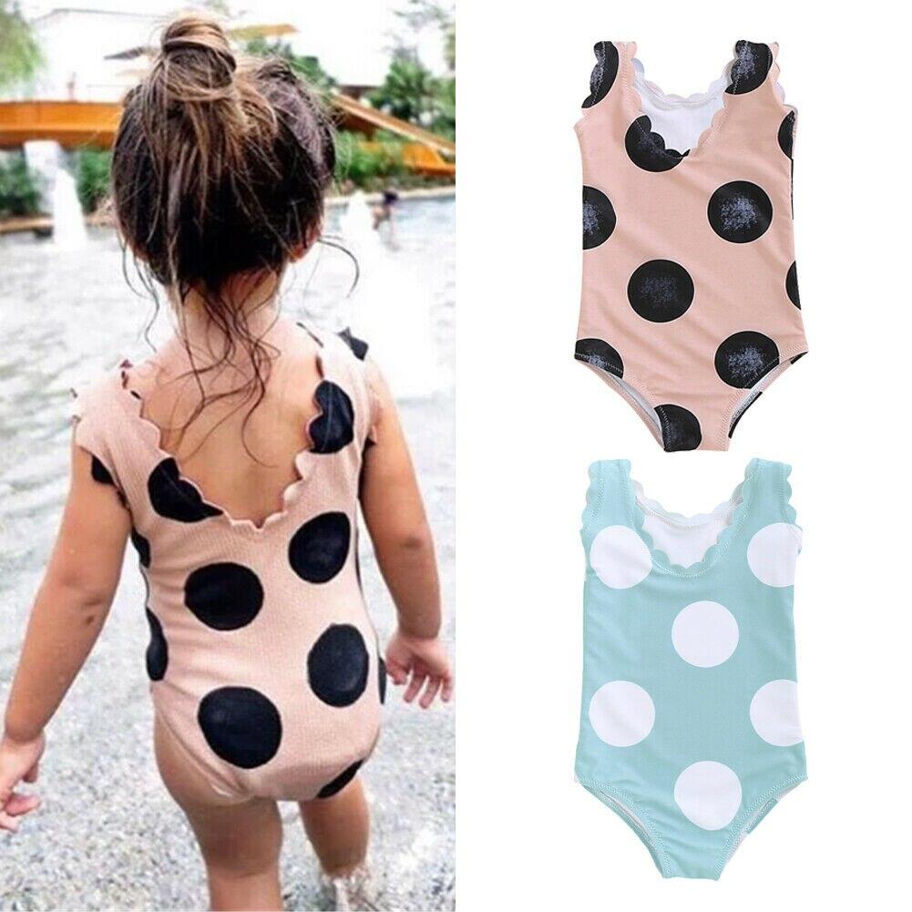 New Kids Baby Girls Polka Dot Leotard One-Piece Swimwear Swimsuit Bathing Suit 2 Colors