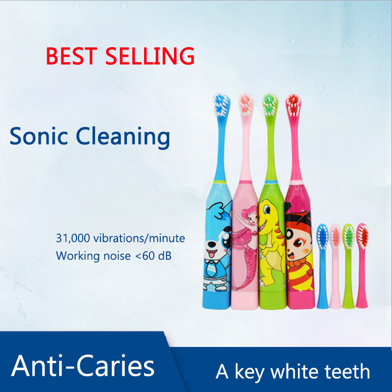 Kids Electric Toothbrush Brush Head Children Cartoon Pattern Double-sided Tooth Brush Electric Teeth Brush For Kids With 2pcs