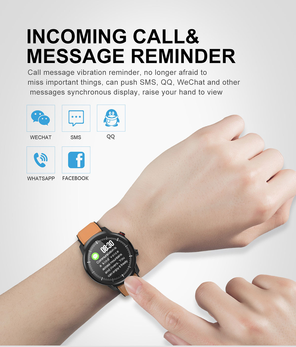 L3 Waterproof Smart Watch with Round Screen Heart Rate Pedometer and Call Message Reminder Smart Activity Tracker for Women Men 16