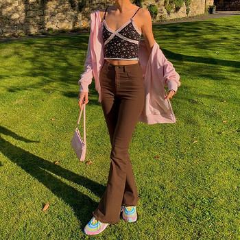 Damskie spodnie rozkloszowane brązowe dżinsy wysokiej talii czarne dżinsy brązowe spodnie dla kobiet Jean kobiety odzież spodnie dżinsy z kieszeniami broek tanie i dobre opinie ISHOWTIENDA Szerokie spodnie COTTON POLIESTER REGULAR Pełna długość NONE CN (pochodzenie) Lato HIGH Women Wide Leg Pants