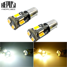 цена на 2Pcs BA9S T11 T4W LED Lamps 10 SMD Auto Interior Lighting Dome Map Reading Light Side Wedge Parker Bulbs White yellow amber