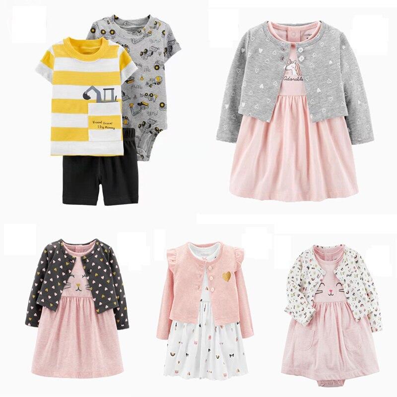 Baby Girl Long Sleeve Cardigan Coat+dress Clothing Fashion Toddler Boy Clothes Newborn 2020 Summer Cartoon Unicorns Outfit