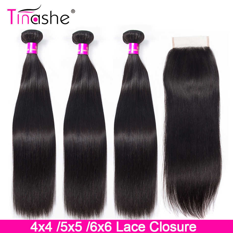 Tinashe Brazilian Straight Hair Bundles With Closure 4x4 5x5 6x6 Lace Closure 28 30 inch Remy Human Hair 3 Bundles With Closure