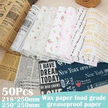 Papel à prova de óleo do alimento 50 pces papel da cera do alimento papel da prova da graxa do alimento para o piquenique da cozinha