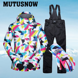 -30°C Warm Ski Suit Women Brand Female Ski Jacket And Pants Warm Waterproof Breathable Skiing And Snowboarding Suits