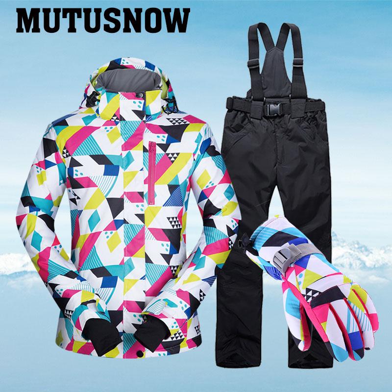 -30 ° c combinaison de Ski chaude femmes marque femme veste de Ski et pantalon chaud imperméable respirant Ski et snowboard costumes
