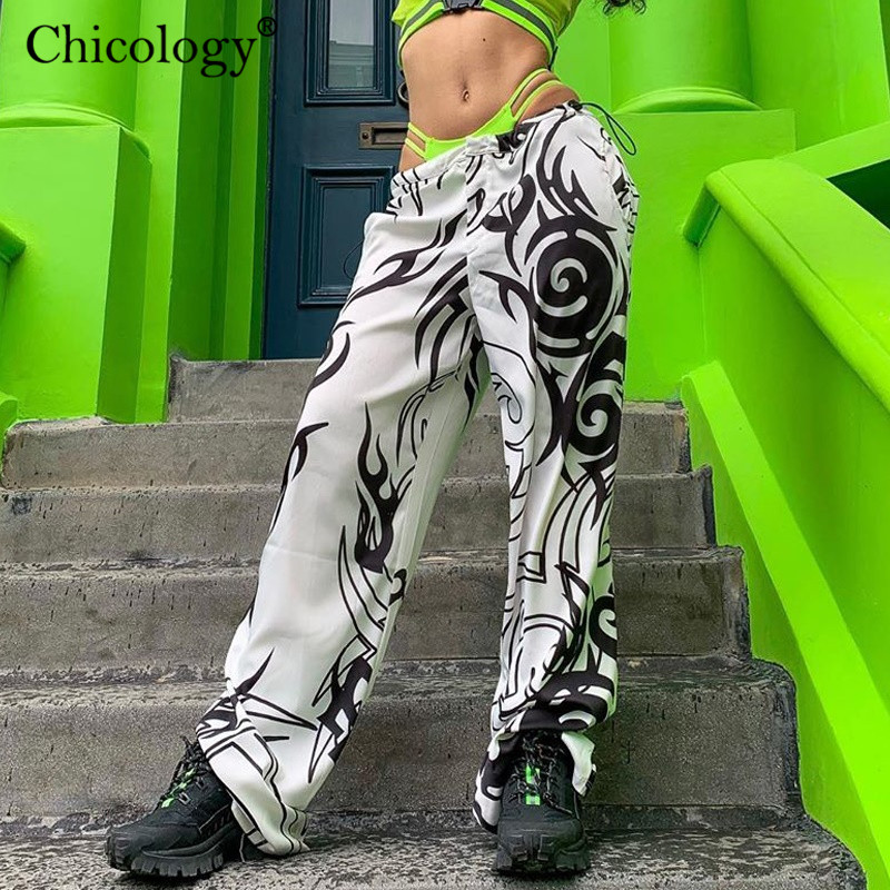 Chicology Tribal Black & White Print Wide Leg Joggers Streetwear Pants Sexy Bottom 2019 Autumn Winter Cool Women Casual Trousers