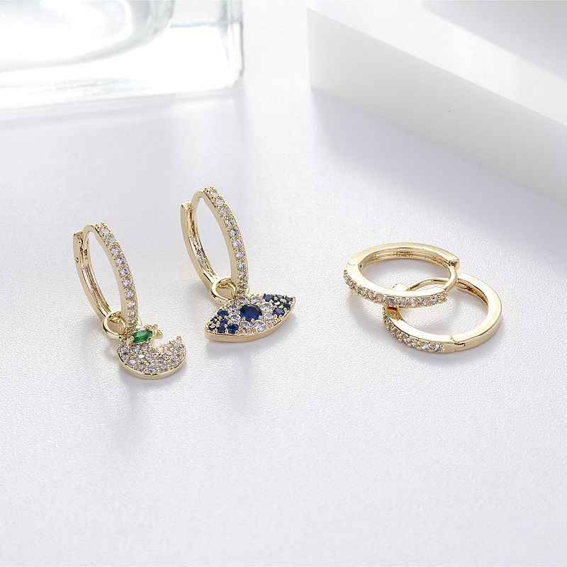 Tiny Trendy Cubic Zirconia Blue Eye Dangle Earrings Luxury Pave Full Cz Crystal Hoop Earrings For Women Fashion Jewelry E-h0398