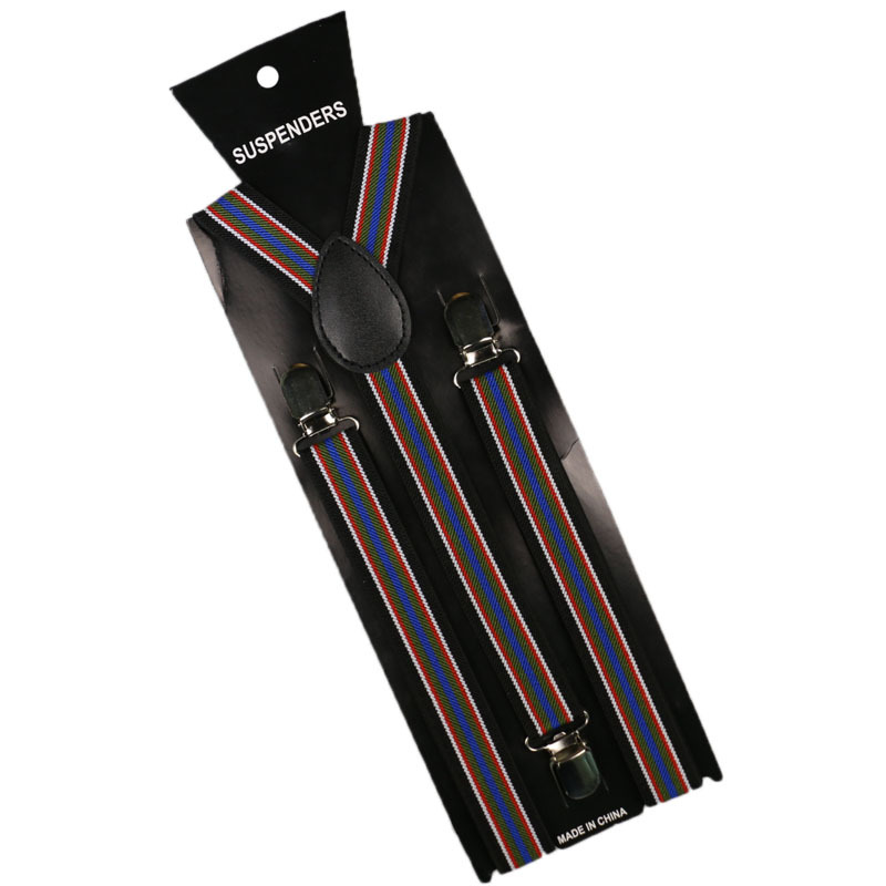 Wholesale Adult 2. 5cm Wide Multi-color Stripe Printed Elastic Bei Dai Jia For Both Men And Women 3 Clip Anti-slip Suspenders