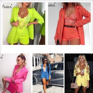 Image 5 - Feditch verão trabalho ol duas peças conjunto blazer jaqueta e shorts sexy 2 peça conjunto cinto feminino 3/4 manga feminina conjunto femal outfits