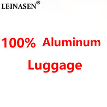 "LEINASEN sale 20""24""29"" inch 100% aluminium rolling luggage business travel suitcase aluminum spinner trolley bag on wheel(China)"