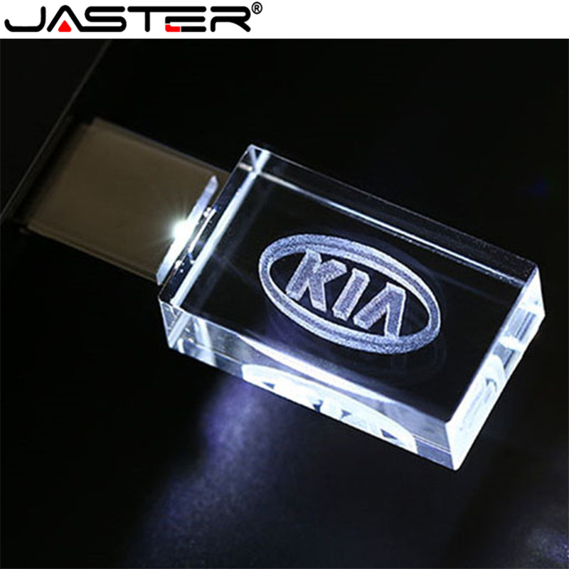 JASTER HOT Car Sign Logos Crystal + Metal USB Flash Drive Pendrive 4GB 8GB 16GB 32GB 64GB 128GB External Storage Memory Stick