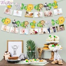 FENGRISE С Днем Рождения украшения детский плакат сафари джунгли вечерние баннер животных вечерние сувениры украшение на детский день рождения