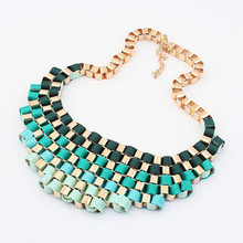 European and American fashion gradient retro metal exaggerated temperament brief paragraph new necklace jewelry