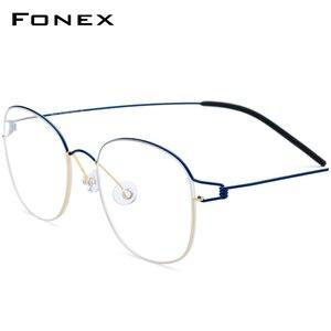 Image 1 - טיטניום סגסוגת אופטי משקפיים מסגרת גברים חדש מרשם משקפיים קוריאה נשים מותג מעצב קוצר ראיה ללא בורג Eyewear 98618