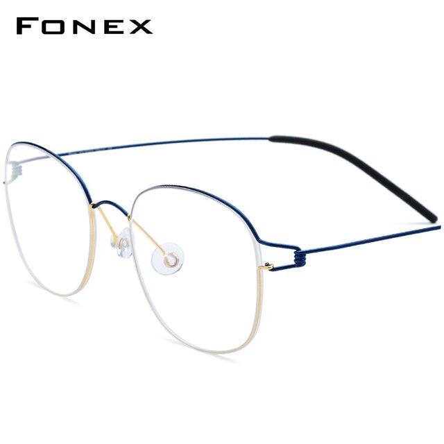 טיטניום סגסוגת אופטי משקפיים מסגרת גברים חדש מרשם משקפיים קוריאה נשים מותג מעצב קוצר ראיה ללא בורג Eyewear 98618