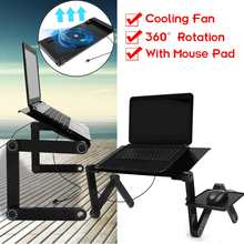 Multi-Fungsi Lapdesk Laptop Meja Meja Berdiri Bed Tray Portable Laptop Stand Aluminium Pemegang dengan Mouse Pad USB cooler(China)