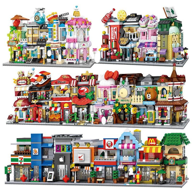 LOZ мини уличный вид город строительные блоки Сделай Сам сборка Обучающие кирпичи 3D архитектурная модель магазин детский подарок рождествен...