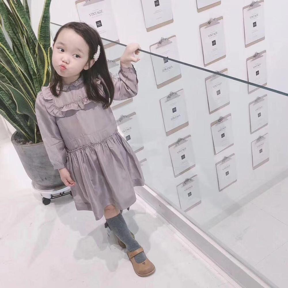 2019 nouveau bambin filles vêtements à manches longues filles robe broderie fleur sur le colar gris marque filles vêtements 2 4 6 8 10 12Y