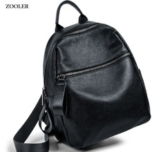 Zooler Genuine Leather bags women cow backpack luxury designer backpacks black style travel bag high quality large tote bag#W201 цены онлайн