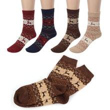 Christmas Sock Deer Design Casual Knit Wool Socks Warm Winter Mens Calcetines St