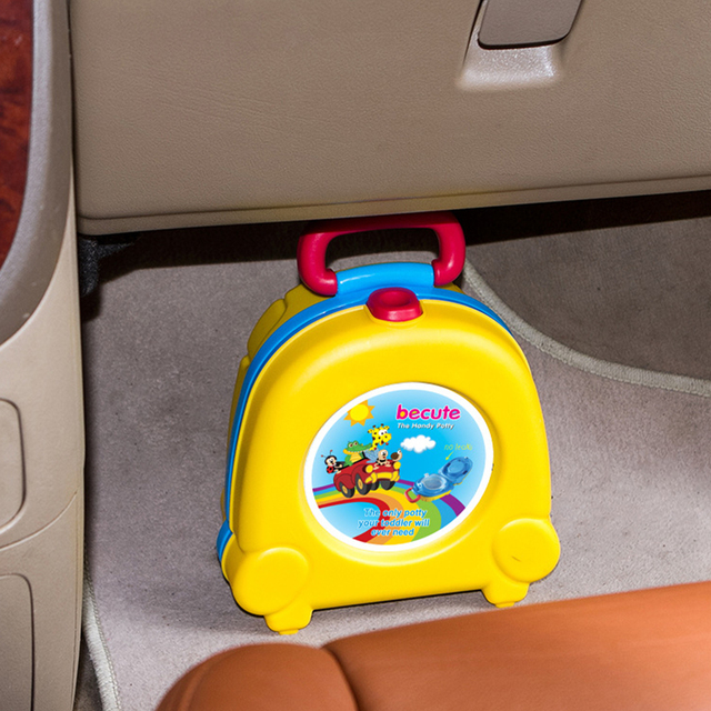 Cute Large Capacity With Handle Urinal Kids Travel Potty Car Portable Outdoor PP Toilet Seat Toddler Training 2