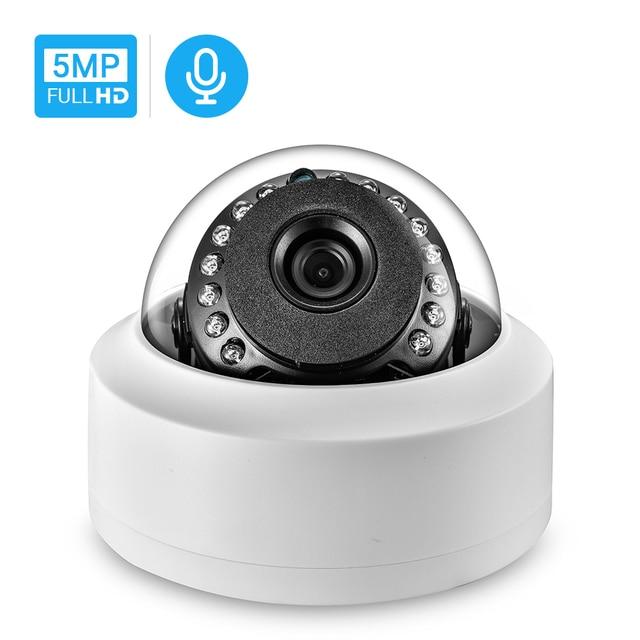 Hamrotte cámara IP de 5MP Onvif, micrófono interno con detección de movimiento, visión nocturna, domo interior, Web, Xmeye, acceso remoto, H.265