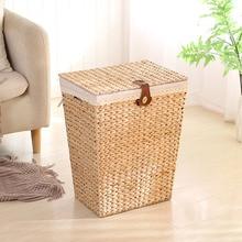 Nordic vine straw clothes storage box laundry basket laundry basket with lid storage basket dirty clothes  large size storage b