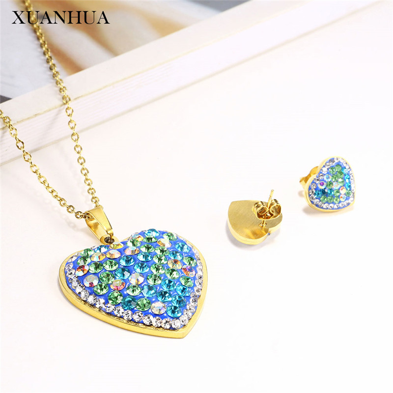 XUANHUA Stainless Steel Woman Jewelry Sets Heart Necklace Set Of Earrings Female Jewellery Accessories Gifts For Women