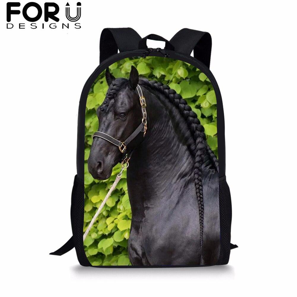 FORUDESIGNS Friesian Horse School Backpack For Teenager Boys Student Custom BookBag Girls 16 Inch Satchel Women Daypack Mochila