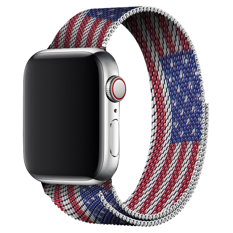 For Apple Watch 40mm Band Milanese Loop Sport Strap 44mm Series 5 Series 4 Flag Print Bracelet For Iwatch Series 1 2 3 4