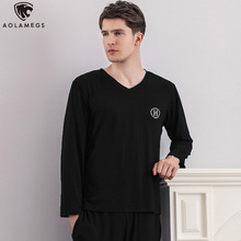 Aolamegs Men Pajamas Set Solid Color Sleepwear Soft Plus Size Loose Casual Long Sleeve Comfortable Fashion Advanced Homewear