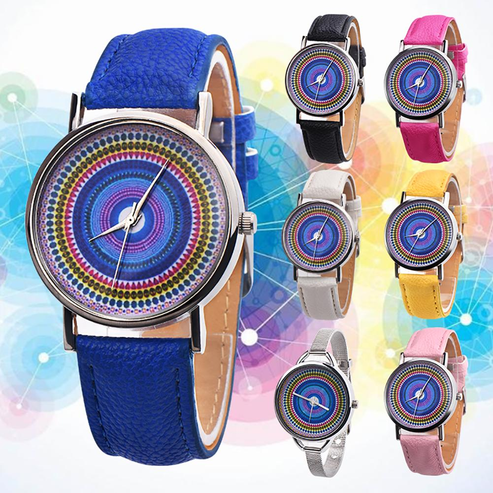 Ethnic Style Faux Leather Band Women Round Quartz Wrist Watch Jewelry Gift montre femme Ladies Dress Watches Gift Luxury