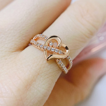 Double Fair Romantic Heart Rings For Women Wedding Engagement Finger Midi Rings Crystal