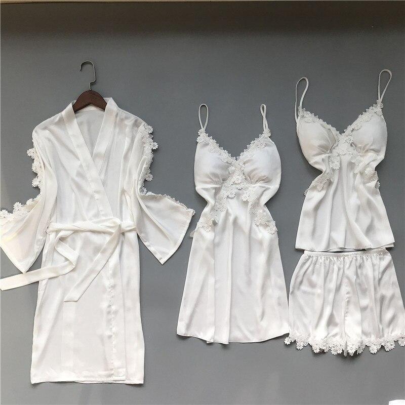 2020 Spring Autumn Women Silk Satin Pajamas Sets Pijama Sleepwear 4 Pieces Spaghetti Strap Satin Pyjamas Chest Pads