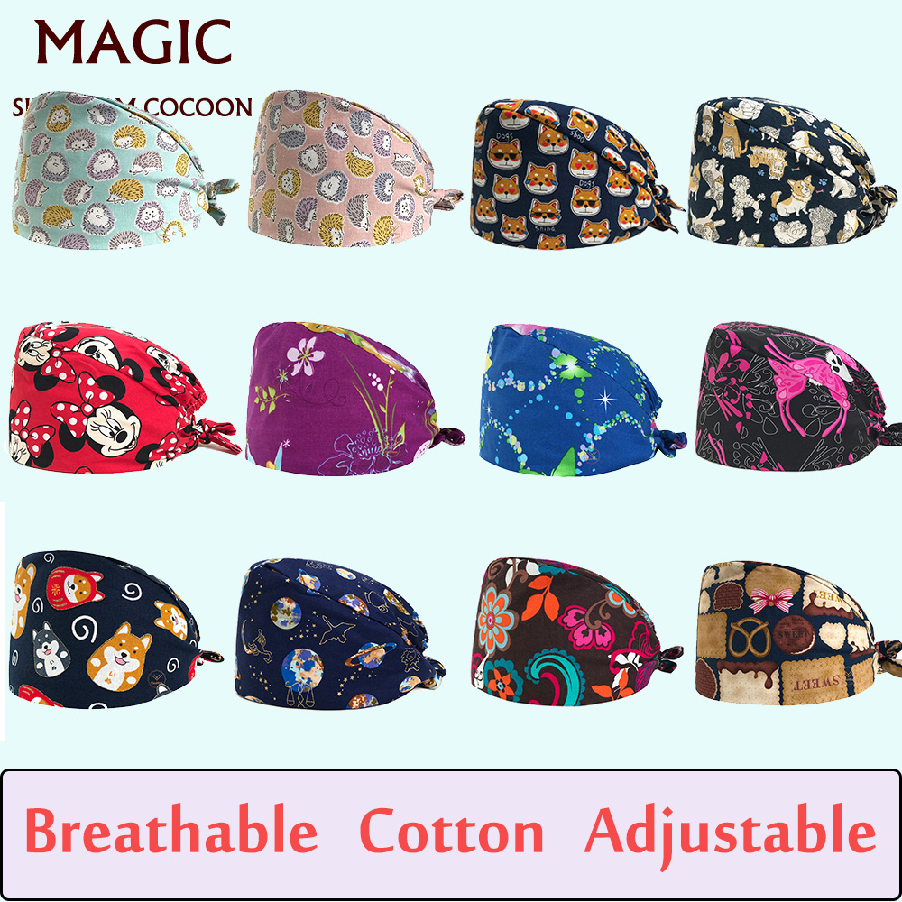 Doctor Nurse Cap Pet Grooming Hospital Doctor Surgical Hats Butterfly Print Scrub Cap Nuseing Work Cap Cotton Scrubs Medical Use