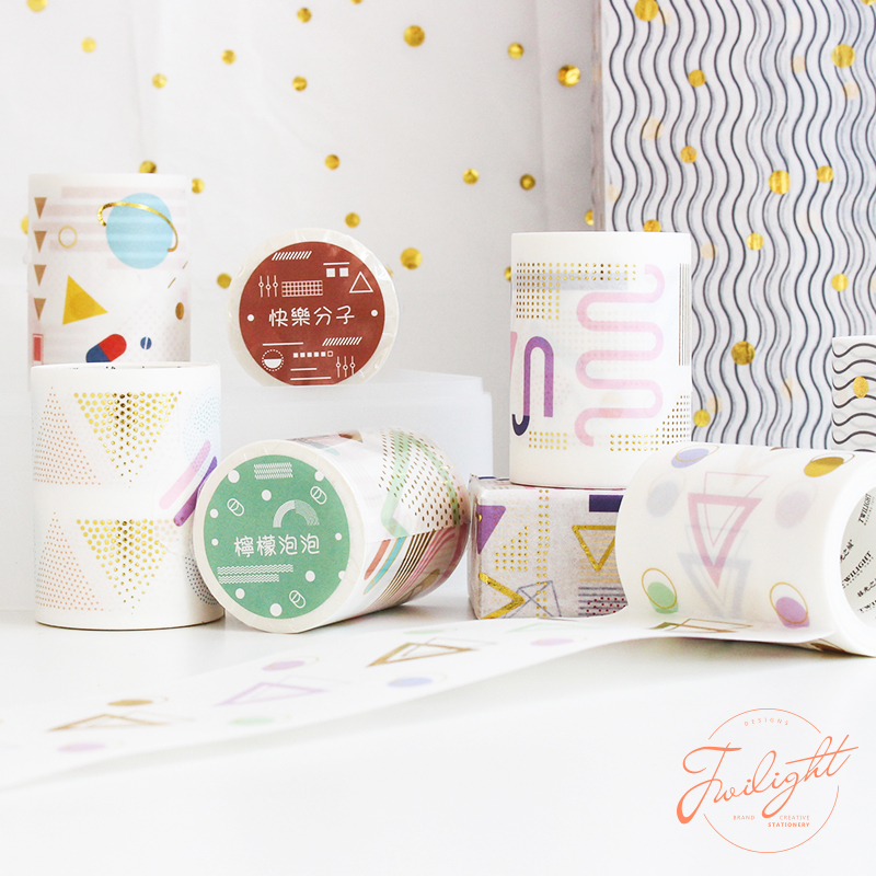Geometric Fantasy Washi Tape 68mm Gold Color Element Adhesive Masking Tapes Dots Bubble Wave Line Trail Stickers Decoration F199