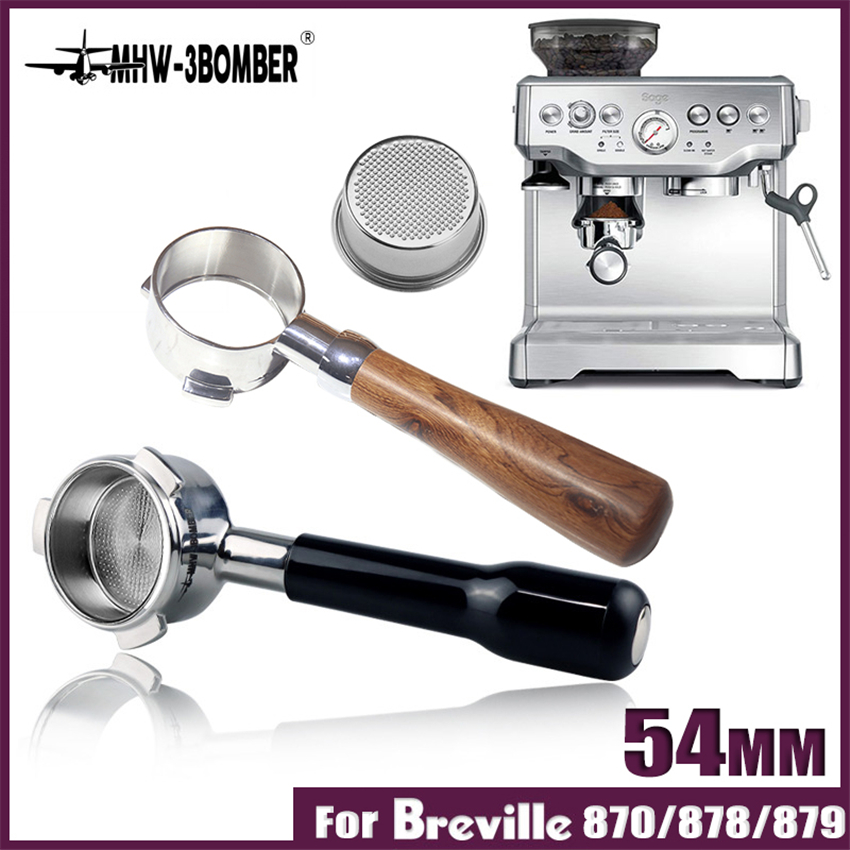 54MM Coffee Bottomless Portafilter For Breville870/875/808 Filter Stainless Steel Replacement Filter Basket Coffee Accessories