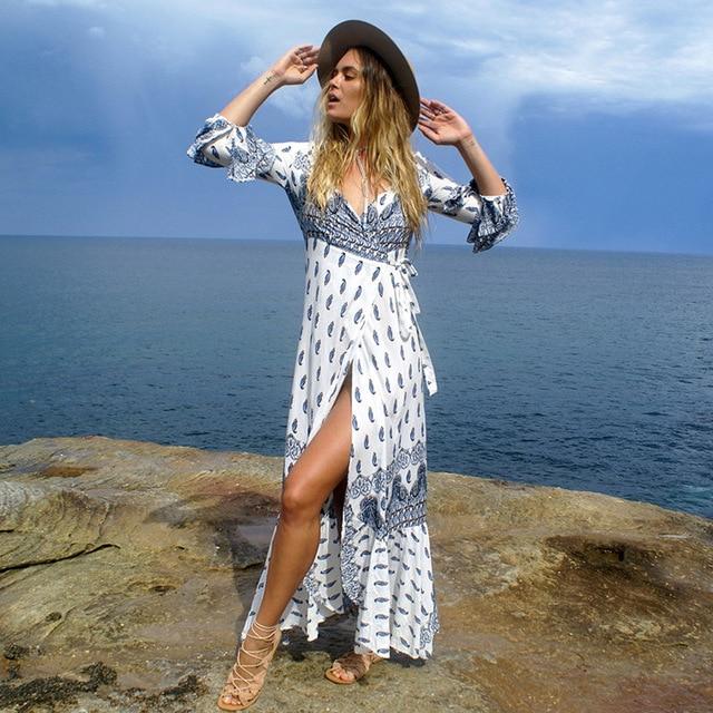 Kaftan Beach Cover Up Swimsuit Summer Beach Dress Long Dresses Women's Tunic Large Women Bohemia Skirt Print Acetate 1